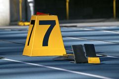 Starting block of lane seven Stock Photos