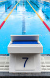 Starting Block with the Lucky Seven Number Royalty Free Stock Image