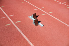 Starting block on a running track Royalty Free Stock Images