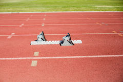 Starting block on a running track Royalty Free Stock Photography
