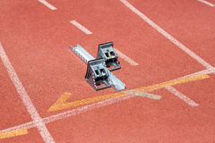 Starting block on running track Stock Images