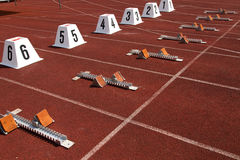 Starting blocks. In track and field Royalty Free Stock Photo