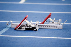 Starting blocks. For a runner at a track meet Royalty Free Stock Images