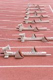 Starting Blocks. Image of starting blocks for sprint events Royalty Free Stock Photo