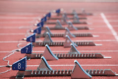 Starting blocks Stock Photo