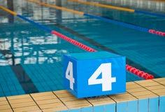 Starting blocks. Competition swimming pool with starting blocks Stock Image