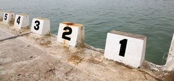 Starting Blocks. Number starting blocks at Merewether Ocean Baths - Newcastle Australia stock photography