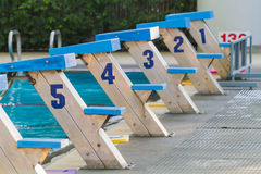 Starting blocks with numbers 1 to 5 Royalty Free Stock Photography