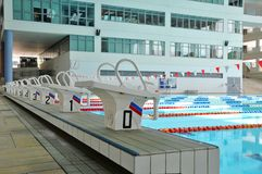 Starting blocks and pool. Starting blocks in an olympic size swimming pool Stock Photography