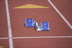 Starting Blocks On A Race Track Royalty Free Stock Images
