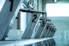 Starting blocks in a row Stock Photography