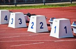 Starting blocks of the running track Stock Image