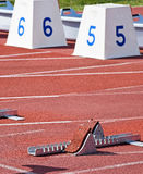 Starting blocks of the running track Royalty Free Stock Images