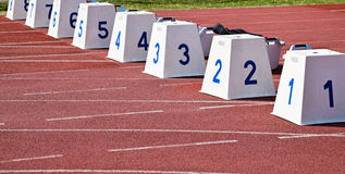 Starting blocks on the running track Royalty Free Stock Images