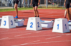 Starting blocks of the running track Royalty Free Stock Photos