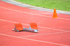 The starting blocks on running tracks Stock Photography