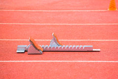 The starting blocks on running tracks Royalty Free Stock Photo