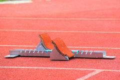 The starting blocks on running tracks Royalty Free Stock Image