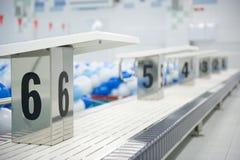 Starting Blocks Swimming Pool royalty free stock image