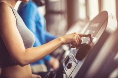 Starting cardio training in gym. royalty free stock images