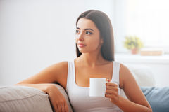 Starting day with cup of fresh coffee. Stock Image