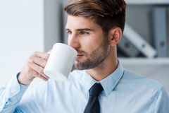 Starting day with fresh coffee. Stock Photos