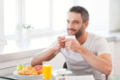 Starting day with fresh and hot coffee. Royalty Free Stock Photo