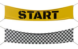 Starting and finishing checkered line banners. Stock Photography