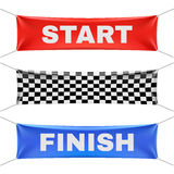 Starting, finishing, and checkered vinyl banners with folds. Vector set Stock Photography