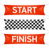 Starting and finishing lines textile banners. Starting and finishing lines, checkered banners Stock Photography