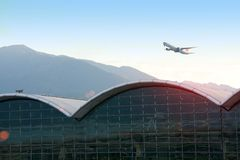 Starting flight in Hong Kong airport0 Stock Photography