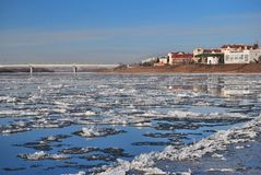 Starting freeze on the Irtysh River Royalty Free Stock Photos