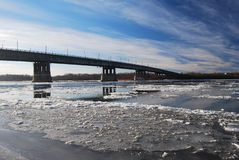 Starting freeze on the Irtysh River Stock Image