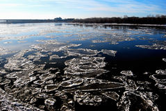 Starting freeze on the Irtysh River Royalty Free Stock Image