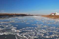 Starting freeze on the Irtysh River Stock Photo