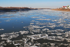 Starting freeze on the Irtysh River Royalty Free Stock Photo