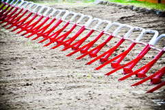 Starting gates before start at motocross ride Stock Images