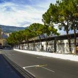 Starting grid asphalt Monaco race Grand Prix circuit Stock Images