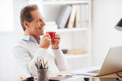 Starting his working day with coffee. Stock Images