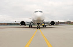 Starting jet. Picture of aircraft ready for take off royalty free stock photography
