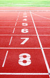 Starting lane of running track Royalty Free Stock Photos