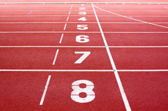 Starting lane of running track Royalty Free Stock Image
