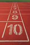 Starting lane of running track Stock Photography