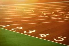 Starting lane of running track Stock Image