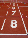 Starting line. Running starting line with numbers from 1 to 8 royalty free stock photography