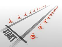 Starting line. With road cones Royalty Free Stock Photos