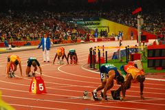 At the starting line. Of the  Men's 400m T11 at the Beijing 2008 Paralympic Games Tuesday Sept. 16, 2008 in Beijing, China. Prado lucas, right, won the gold Royalty Free Stock Images
