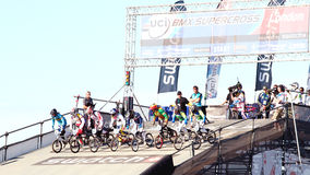 Starting Line of the Bmx Worlds. Athletes rush down the 8m starting platform at speeds up to 35 MPH at the Olympic park in London. August 20th 2011 Stock Photo