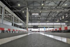 The starting line in the go-carting center stock photography