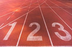 Free Starting Line Position Of Running Track Background Texture, Lane Number 1, 2, 3. Business Competitiveness Conceptual Royalty Free Stock Photos - 119873848